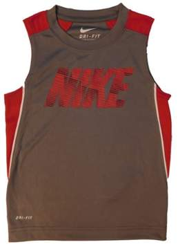 Nike Boys Gray/Red Dri-Fit Muscle Shirt Active Tank Top Size 4