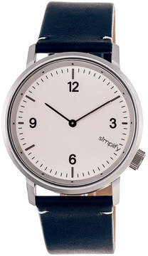 Simplify Silver & Navy The 5500 Leather-Strap Watch