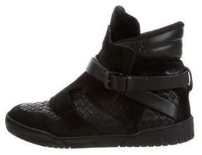 Bottega Veneta Intrecciato Leather High-Top Sneakers
