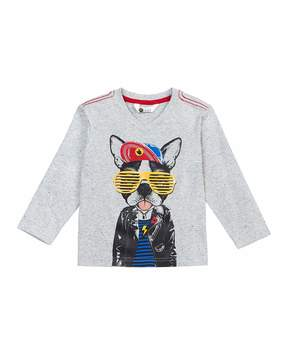Petit Lem Long-Sleeve Urban Dog-Print T-Shirt, Size 2-6X