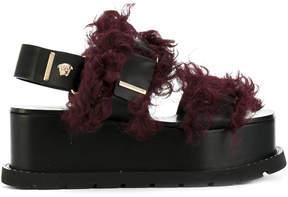 Versace faux fur-trimmed platform sandals