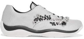 Prada Crystal-embellished Mesh Sneakers - Silver