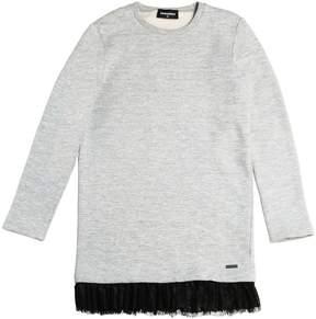 DSQUARED2 Cotton Sweatshirt Dress W/ Lace Hem