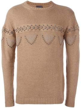 Laneus cable knit studded jumper