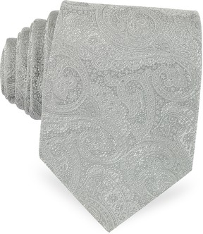 Forzieri Light Gray Ornamental Print Woven Silk Tie