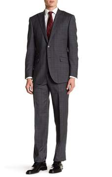 English Laundry Grey Plaid Two Button Peak Lapel Wool Suit