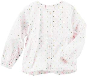 Osh Kosh Girls 4-8 Clip-Dot Shirt