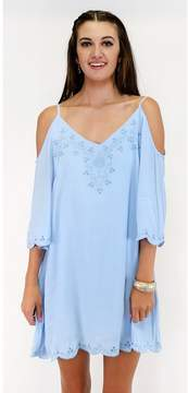 Ark & Co Ol' Blue Eyelet Embroidered Cold Shoulder Dress