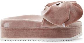 Joshua Sanders Pink Velvet Bow Platform Sandals