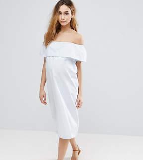Mama Licious Mama.licious Mamalicious Striped Bardot Dress