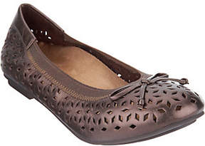 Vionic Orthotic Perforated Leather Ballet Flats- Maddie