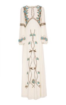 Figue Sophia Embroidered Silk Gown