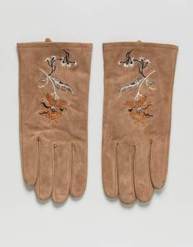 Asos Suede Gloves In Tan With Embroidery