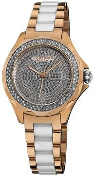 Akribos XXIV Akribos Diamond Rose Gold-Tone and White Ceramic Ladies Watch