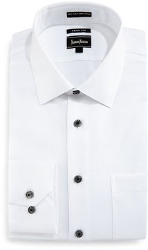 Neiman Marcus Trim Fit Solid-Color Dobby Dress Shirt, White