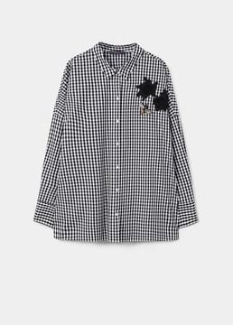 Violeta BY MANGO Patched gingham check shirt