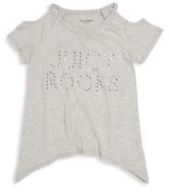 Juicy Couture Little Girl's Cold-Shoulder Asymmetrical Cotton Top