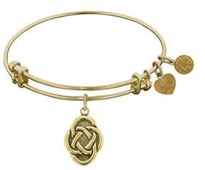 Celtic Stipple Finish Brass Oval Knot Angelica Bangle Bracelet, 7.25.