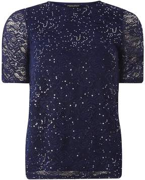 Dorothy Perkins Navy Sequin Ruched Sleeve Lace Top