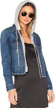 Central Park West Beacon Hooded Jean Jacket.