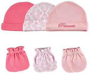 Hudson Baby Pink Damask 6-Piece Cap & Scratch Mitten Set