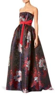 Carolina Herrera Floral Jacquard Gown