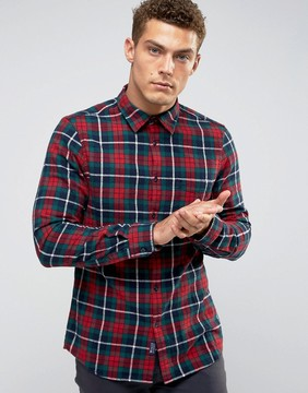 Jack Wills Salcombe Plaid Shirt In Regular Fit In Flannel Red/Green