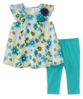 Kids Headquarters Baby Girl's Two-Piece Floral Ruffle Tunic and Capri Leggings Set