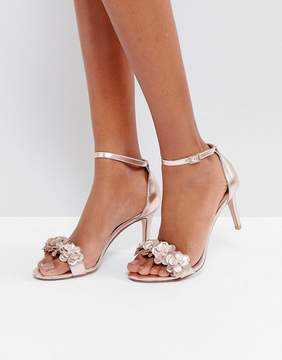 Dune Magnolea Rose Gold Flower Trim Heel Sandal