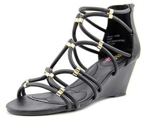 XOXO Womens Sybil Open Toe Ankle Strap Wedge Pumps.