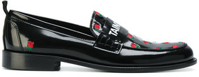 Joshua Sanders embroidered rose motif loafers