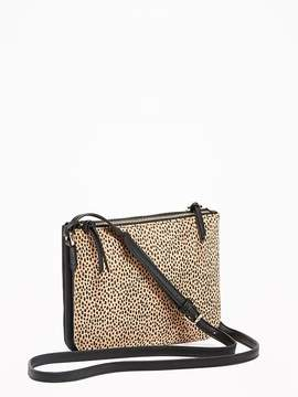Cheetah-Print Dual-Zip Crossbody Bag for Women