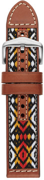 Fossil 22mm Multi-Colored Leather and Cotton Watch Strap