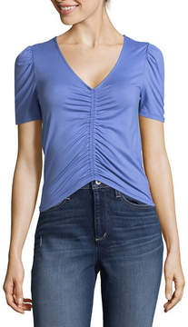 Almost Famous Short Sleeve V Neck Knit Blouse-Juniors