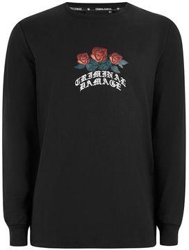 Criminal Damage Black Rose 'Crown' Sweatshirt