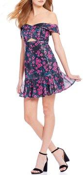 WAYF Janet Off-the-Shoulder Floral Sequin Drop Waist Dress