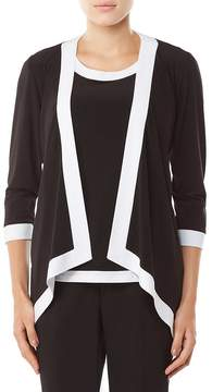 Allison Daley 3/4 Sleeve Open Front Contrast Trim Cardigan