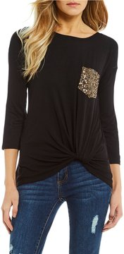 Copper Key Sequin Pocket Long Sleeve Tee