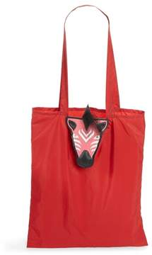 Valentino Nylon Tote with Genuine Goat Fur & Leather Bag Charm