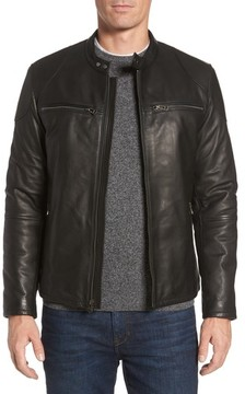 Cole Haan Men's Leather Zip Front Moto Jacket