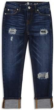 7 For All Mankind Girls' Distressed & Cuffed Dark-Wash Jeans - Big Kid