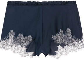 Carine Gilson Chantilly Lace-trimmed Silk-blend Satin Shorts - Navy