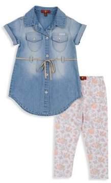 7 For All Mankind Little Girl's Denim Dress& Legging Set