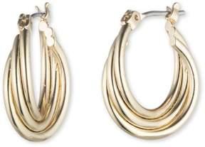 Nine West Triple Row Gold Tone Twist Hoop Earrings One Size Gold tone