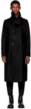 The Viridi-anne Black Overlap Button Coat