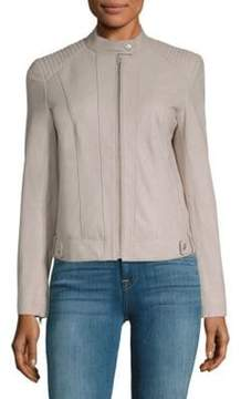 Cole Haan Cropped Leather Moto Jacket