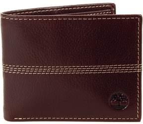 Timberland Men's Wallet Genuine Leather Pebble Grain Stitch Detail Slim Bifold