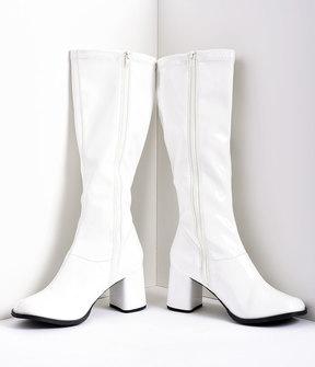 Unique Vintage White Stretch Patent Knee High Go Go Boots