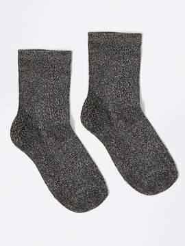 Frank and Oak Ankle Lurex Socks in Black Metal