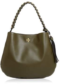 Tory Burch Brooke Leather Hobo - LECCIO GREEN/GOLD - STYLE